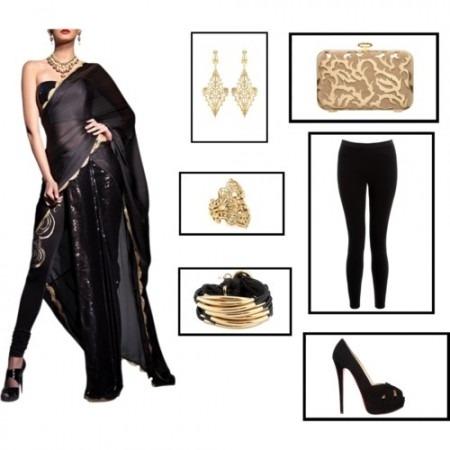 Indian Fashion Designer Black Half Pleated Chiffon Saree