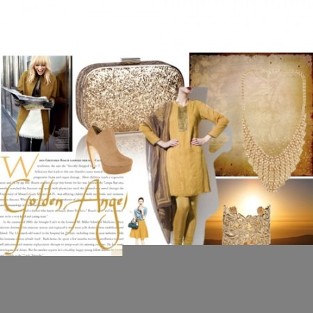 Indian Designer Clothes - Indian Fashion Designer - Mustard and Gold Accesories