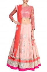 Indian Fashion Designers - Devnaagri - Contemporary Indian Designer - Blush Pink Georgette lehenga Set - DEV-SS16-LN-24