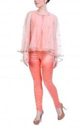 Indian Fashion Designers - Hirika Jagani - Contemporary Indian Designer - Peach Net Cape - HJ-SS16-HJCP485-F-PE