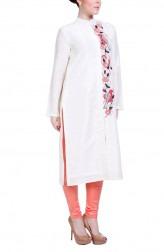 Indian Fashion Designers - Hirika Jagani - Contemporary Indian Designer - Cream Placket Kurta - HJ-SS16-HJKU315-M-CR