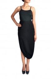 Indian Fashion Designers - Janaki - Contemporary Indian Designer - Black Double Crepe Skirt - JKI-SS16-B2
