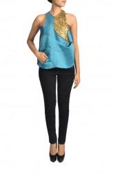 Indian Fashion Designers - Janaki - Contemporary Indian Designer - Electric Blue Double Taffeta Top - JKI-SS16-T1