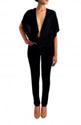 Indian Fashion Designers - Janaki - Contemporary Indian Designer - Black Jersey Plunging Neck Top - JKI-SS16-T2
