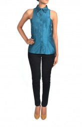 Indian Fashion Designers - Janaki - Contemporary Indian Designer - Blue Jewel Neckline Top - JKI-SS16-T5