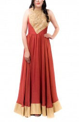 Indian Fashion Designers - Kriti J - Contemporary Indian Designer - Brick Red Flared Gown - KJ-SS16-GN01