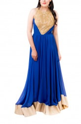 Indian Fashion Designers - Kriti J - Contemporary Indian Designer - Royal Blue Flared Gown - KJ-SS16-GN02