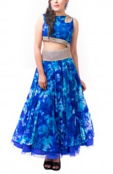Indian Fashion Designers - Kriti J - Contemporary Indian Designer - Royal Blue Shibori Print Gown - KJ-SS16-GN03