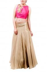 Indian Fashion Designers - Kriti J - Contemporary Indian Designer - Fuchsia Crop Top and Gold Lehenga - KJ-SS16-LA04