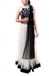 Indian Fashion Designers - Kriti J - Contemporary Indian Designer - Black and White Lehenga Set - KJ-SS16-LA08