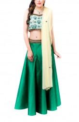 Indian Fashion Designers - Kriti J - Contemporary Indian Designer - Emerald Green Lehenga Set - KJ-SS16-LA09