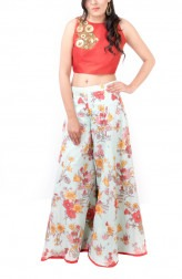 Indian Fashion Designers - Kriti J - Contemporary Indian Designer - Floral Print Sharara with Crop Top - KJ-SS16-LA12