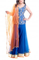 Indian Fashion Designers - Kriti J - Contemporary Indian Designer - Royal Blue Kurta Sharara Set - KJ-SS16-LA14