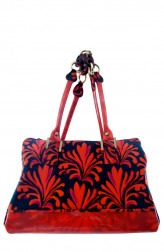 Indian Fashion Designers - Meera Mahadevia - Contemporary Indian Designer - Blue And Red Handbag - MM-SS16-MM-6691
