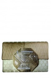 Indian Fashion Designers - Meera Mahadevia - Contemporary Indian Designer - Beige Brocade Clutch - MM-SS16-MM-6795