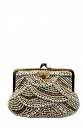 Indian Fashion Designers - Meera Mahadevia - Contemporary Indian Designer - Antique And White Beaded Clutch - MM-SS16-MM-6898