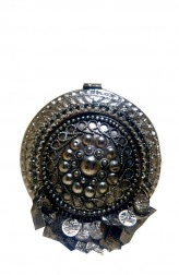 Indian Fashion Designers - Meera Mahadevia - Contemporary Indian Designer - Round Metallic Antique Clutch - MM-SS16-MM-6901