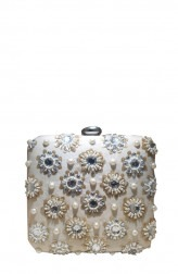 Indian Fashion Designers - Meera Mahadevia - Contemporary Indian Designer - Pearl Embellished White Clutch - MM-SS16-MM-6910