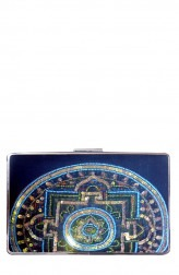 Indian Fashion Designers - Meera Mahadevia - Contemporary Indian Designer - Embellished Blue Rectangular Clutch - MM-SS16-MM-QE-CL-039