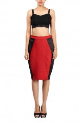 f29bb3055d Indian Fashion Designers - Michelle Salins - Contemporary Indian Designer -  Maroon And Black Panelled Pencil