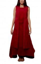 Indian Fashion Designers - Myoho - Contemporary Indian Designer - Double Layer Jacket with Inner Side Hanging Kurta - MYO-SS16-MYO-214