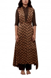Indian Fashion Designers - Myoho - Contemporary Indian Designer - Lapel Side Hanging Slit Dress - MYO-SS16-MYO-243