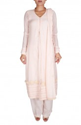 Indian Fashion Designers - Nausheen Osmany - Contemporary Indian Designer - Peach Long Kurta With Pallazo - NO-SS16-NO-SS05-N1113