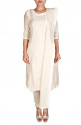 Indian Fashion Designers - Nausheen Osmany - Contemporary Indian Designer - Beige And Off White Chanderi Kurta - NO-SS16-NO-SS08-N1116
