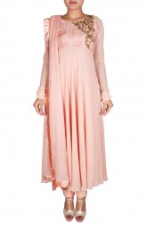 Indian Fashion Designers - Nausheen Osmany - Contemporary Indian Designer - Peach pink flowy anarkali - NO-SS16-NO-SS13-N1081