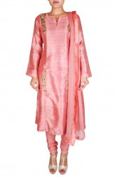 Indian Fashion Designers - Nausheen Osmany - Contemporary Indian Designer - Pale Pink Silk Kurta - NO-SS16-NO-SS14-N1084