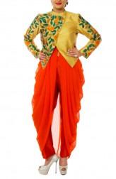 Indian Fashion Designers - Neehara - Contemporary Indian Designer - Golden Jacket Set - NH-SS16-NH-BT10