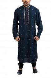 Indian Fashion Designers - Poonam Kasera - Contemporary Indian Designer - Black Resham Work Kurta - PKR-SS16-DG-292