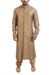 Indian Fashion Designers - Poonam Kasera - Contemporary Indian Designer - Swarovski Embellished Brocade Kurta - PKR-SS16-DG-391
