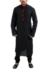 Indian Fashion Designers - Poonam Kasera - Contemporary Indian Designer - Black Mirror Work Kurta - PKR-SS16-DG-504