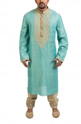 Indian Fashion Designers - Poonam Kasera - Contemporary Indian Designer - Blue Aari Embroidered Kurta - PKR-SS16-DG450BLU
