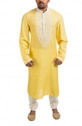 Indian Fashion Designers - Poonam Kasera - Contemporary Indian Designer - Yellow Aari Embroidered Kurta - PKR-SS16-DG450YLW