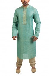 Indian Fashion Designers - Poonam Kasera - Contemporary Indian Designer - Blue Zari Embroidery Kurta - PKR-SS16-DG491