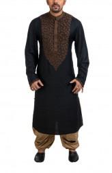 Indian Fashion Designers - Poonam Kasera - Contemporary Indian Designer - Classic Black Kurta - PKR-SS16-DG517BLK
