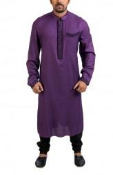 Indian Fashion Designers - Poonam Kasera - Contemporary Indian Designer - Appliqued Purple Kurta - PKR-SS16-DG545