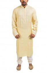 Indian Fashion Designers - Poonam Kasera - Contemporary Indian Designer - Pale Yellow Paisley Kurta - PKR-SS16-DG549YLW