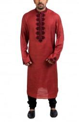 Indian Fashion Designers - Poonam Kasera - Contemporary Indian Designer - Maroon Aari Embroidered Kurta - PKR-SS16-DG561