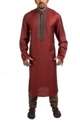 Indian Fashion Designers - Poonam Kasera - Contemporary Indian Designer - Embroidered Maroon Kurta - PKR-SS16-DG606