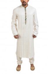 Indian Fashion Designers - Poonam Kasera - Contemporary Indian Designer - Cream Kalamkari Detail Kurta - PKR-SS16-DG637