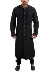 Indian Fashion Designers - Poonam Kasera - Contemporary Indian Designer - Black Embellished Kurta - PKR-SS16-S-10