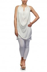 Indian Fashion Designers - Satya Suman - Contemporary Indian Designer - White Block Print Top - SS-NO-SS16-STL1