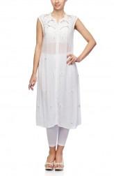Indian Fashion Designers - Satya Suman - Contemporary Indian Designer - Flowy Chikan Shrug Top - SS-NO-SS16-STL32