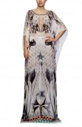 Indian Fashion Designers - Satya Suman - Contemporary Indian Designer - Printed Floral Kaftan - SS-NO-SS16-STL37