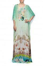 Indian Fashion Designers - Satya Suman - Contemporary Indian Designer - Printed Floral Crystalised Kaftan - SS-NO-SS16-STL38