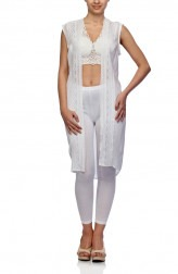 Indian Fashion Designers - Satya Suman - Contemporary Indian Designer - Chikankari Shrug Top - SS-NO-SS16-STL4