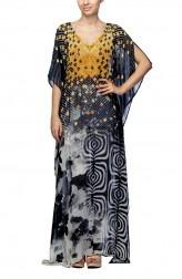 Indian Fashion Designers - Satya Suman - Contemporary Indian Designer - Printed Tri-Color Kaftan - SS-NO-SS16-STL47